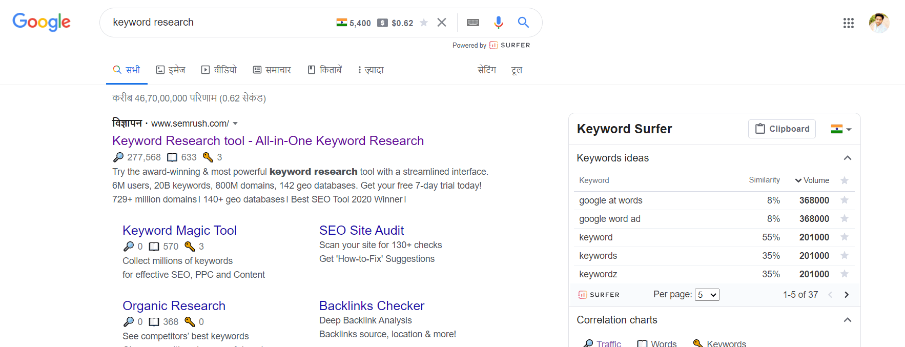 Surferseo Keywords researches tool