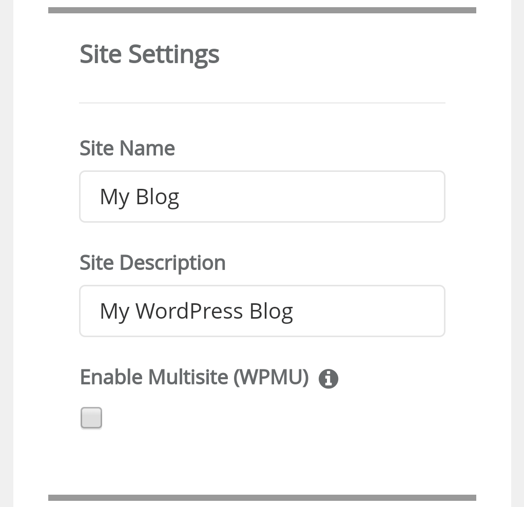 wordpress install from site settings